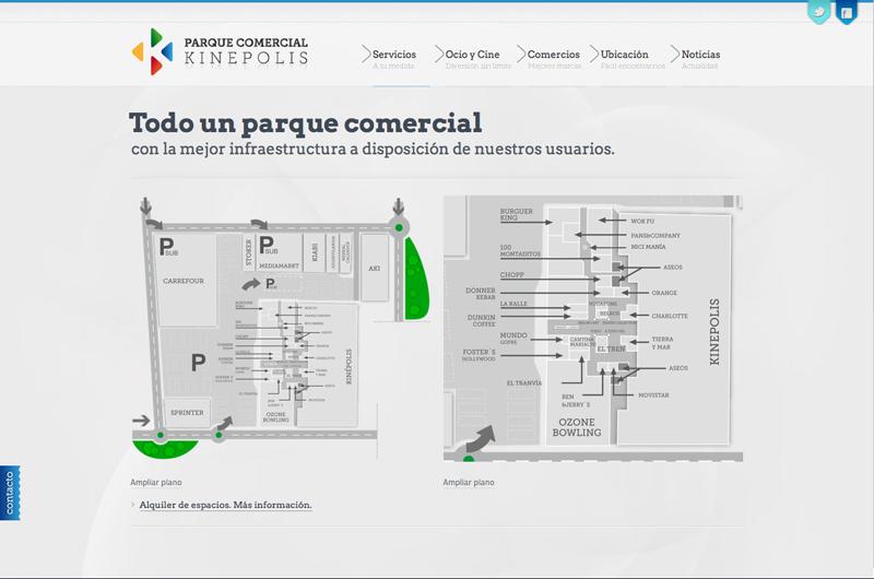 Diseño gráfico y web Granada, mimográfico. Web Parque Kinepolis
