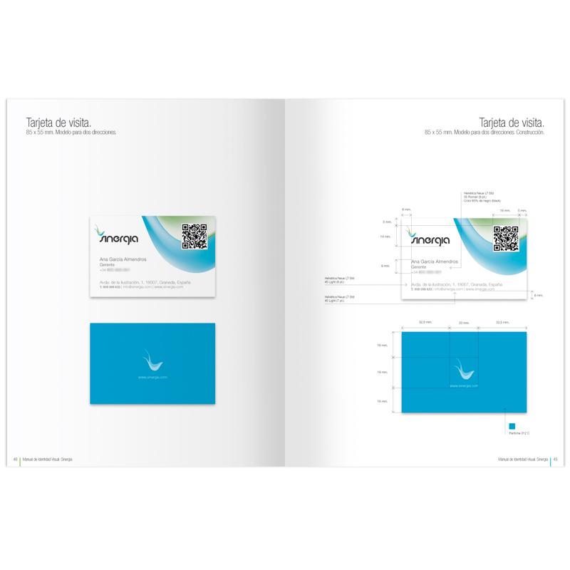 Diseño gráfico y web Granada, mimográfico. Identidad Corporativa Sinergia tarjetas de visita