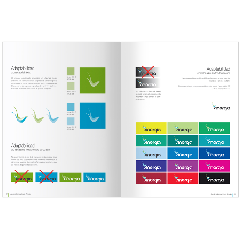 Diseño gráfico y web Granada, mimográfico. Identidad Corporativa Sinergia manual