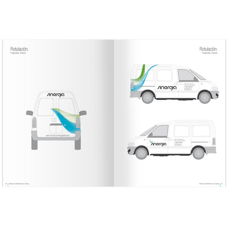 Diseño gráfico y web Granada, mimográfico. Identidad Corporativa Sinergia rotulación