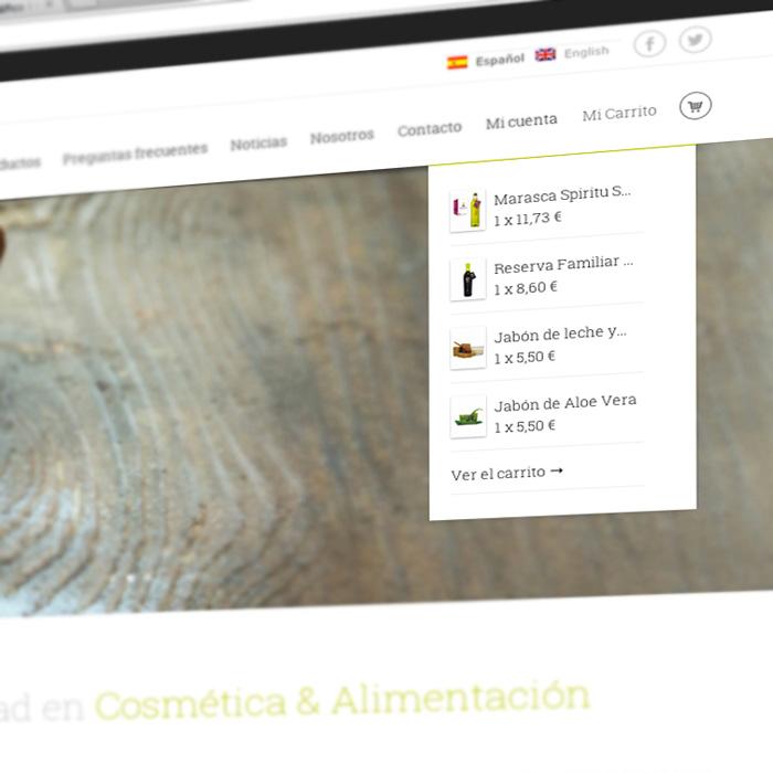 Diseño web tienda online Nutriolive Granada, elaborado con mimo.