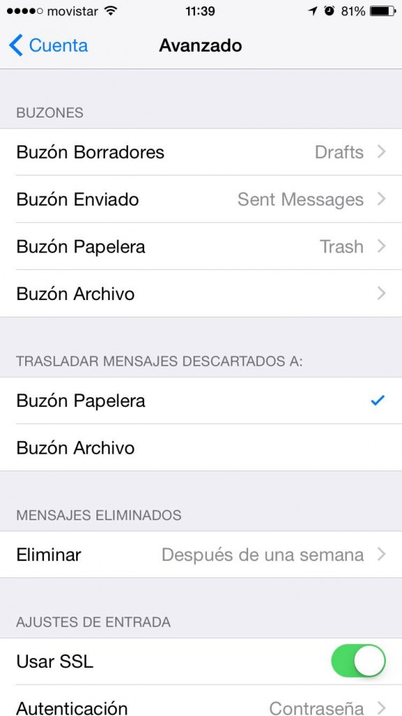 Mimográfico configuración emails ios mail4