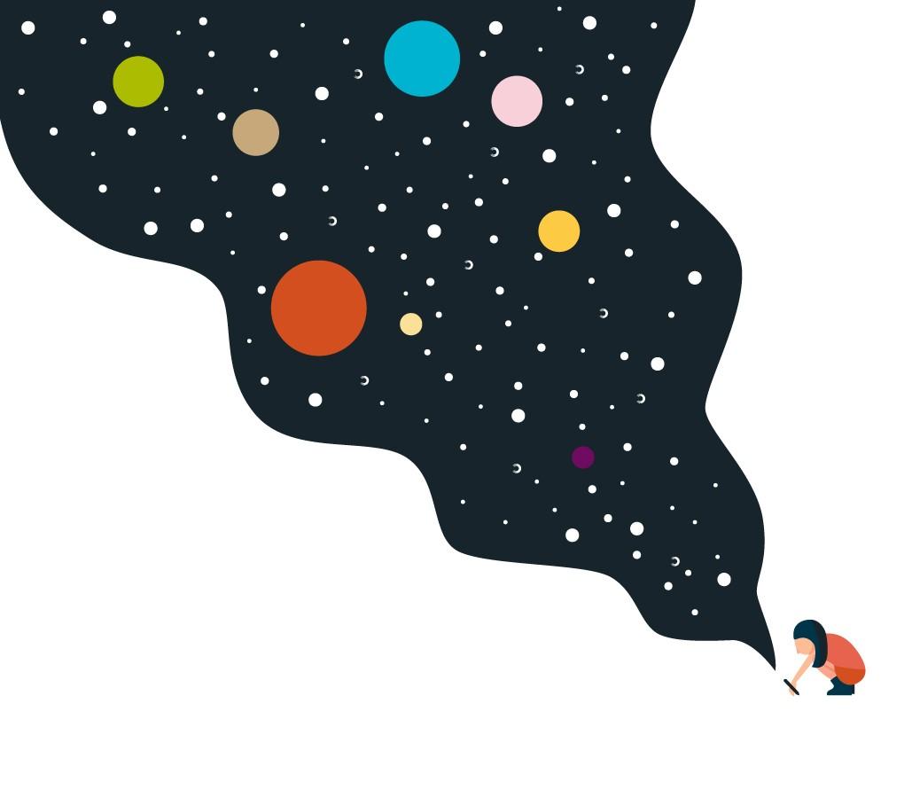 Planet kid's niña dibujando universo